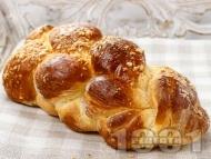 Приготвяне на рецепта Домашен пухкав плетен козунак за Великден